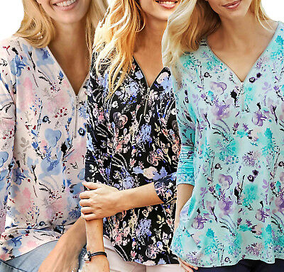 UK Plus Sizes 28-38 eu 54-64 Ladies Zip Floral Blouse Top in Mint Black or White