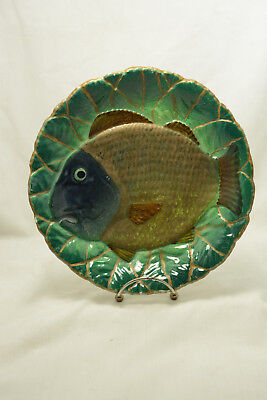 Vintage Hand Painted Art Pottery Majolica Fish Plate - AS IS
