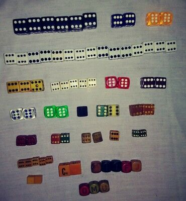 Collectible Old Vintage Lot of 72 Throwing Playing Game Dice Numbers and Letters