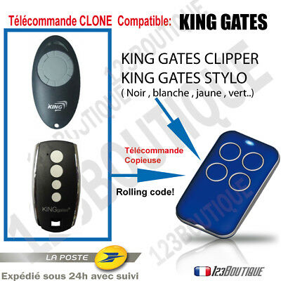 TELECOMMANDE COPIEUSE KING GATES STYLO 4 CLIPPER   garage portail ROLLING CODE