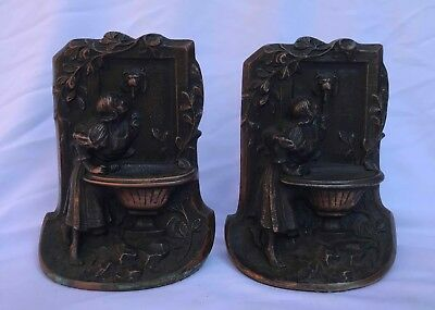 Art Nouveau Cast Iron BOOKENDS - Bronze Finish - Girl at Lion Head Fountain