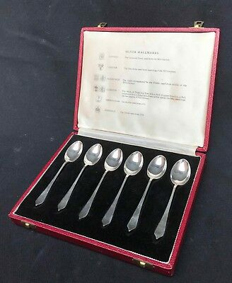 Vtg Collector Set of 6 British Hallmark Sterling Silver Demitasse Spoons - 1963