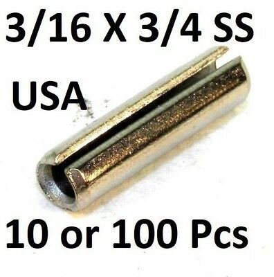"(10-100) 18-8 S.S. Slotted Roll Spring Pin 3/16"" Dia x 3/4"" L STAINLESS USA NH"