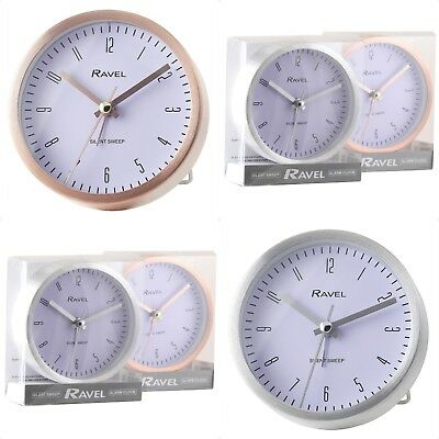 Modern Style Metal Quartz Alarm Clock with folding stand. Silent Sweep. Boxed