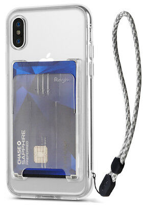 For iPhone XS Max, XR, XS | Ringke Bundle [Clear Case, Card Holder, Wrist Strap]