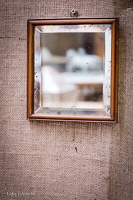 Antique 18th Century Small Square Yew Wood Mirror
