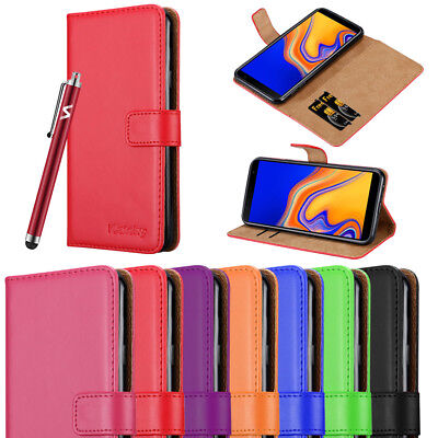 For Samsung Galaxy J4 Plus Phone Case J4+ Leather Flip Wallet Protective Cover