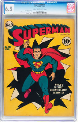 Superman #9 Golden Age Superman DC unrestored blue label CGC 6.5 1939 series