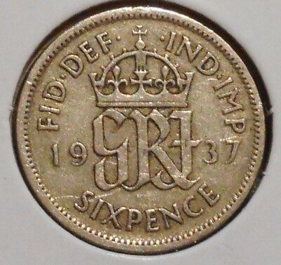 British Silver Sixpence - 1937 - King George VI - $1 Unlimited Shipping