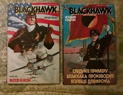 2 Book Lot: Blackhawk Set Books One And Two:howard Chaykin-1987-Fine Condition