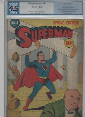 Superman #4 Golden Age Superman DC unrestored blue label PGX 4.5 1939 series
