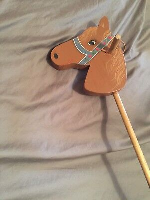 Vintage hobby stick horse toy for kids American Victorian style hand painted