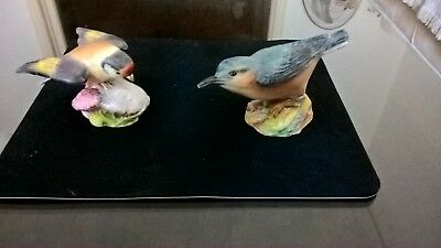 Royal Worcester Nuthatch and Goldfinch bird figurines 3334 & 3239