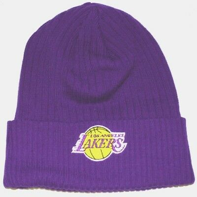 LOS ANGELES LAKERS Knit Beanie Hat Cuffed MITCHELL AND NESS TOQUE NWT OLD  STYLE d2f60c5d8dc