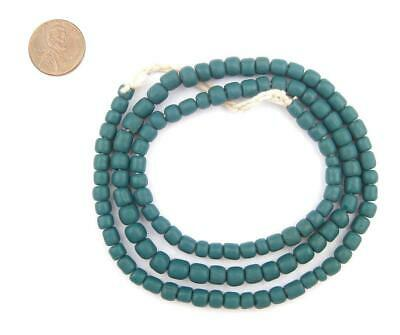 Teal Java Glass Beads 5mm Indonesia Green Cylinder 24 Inch Strand