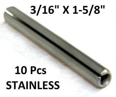 "NEW! (10 Pcs) 18-8 S.S. Slotted Roll Spring Pin 3/16"" Dia x 1-5/8""  STAINLESS NH"