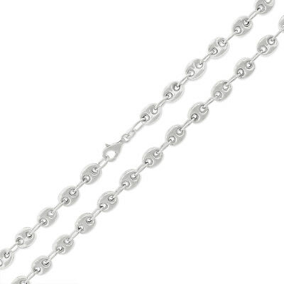 925 Sterling Silver Italian 7mm Puff Mariner Rhodium Plated Necklace Chain