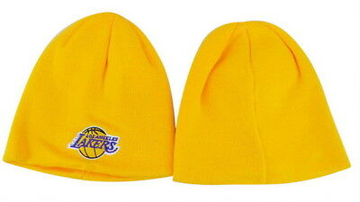 00ffa9ab2 LOS ANGELES LAKERS Knit Beanie Hat Ski Cap Gold Cuffless Youth Size Toque  Nwt