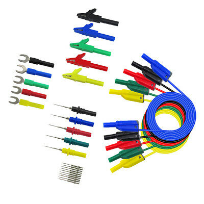 Blesiya 5pcs 4mm Plated Banana Plug to Test Hook Clip Cable Test Probes 1.1M