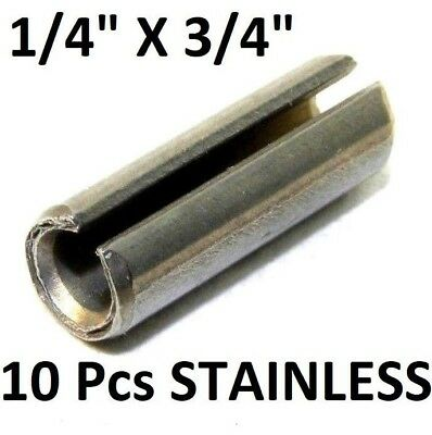 """NEW! (10 Pcs) 420 S.S. Slotted Roll Spring Pin 1/4"""" Dia x 3/4"""" L STAINLESS NH"""
