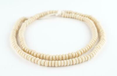 Beige Java Glass Donut Beads 6mm Indonesia White Disk Large Hole 24 Inch Strand