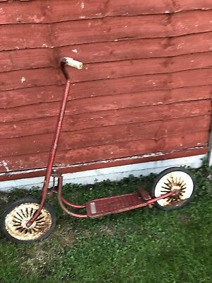 Vintage,childs metal Mobo scooter, classic toys.