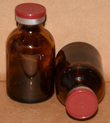30 mL Amber Sterile Vial with Brick Red Plain Flip Cap Seal Qty. 1