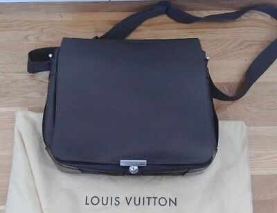 8bad8ee762e LOUIS VUITTON AUTHENTIC LV Viktor Brown Taiga Leather Messenger Bag ...