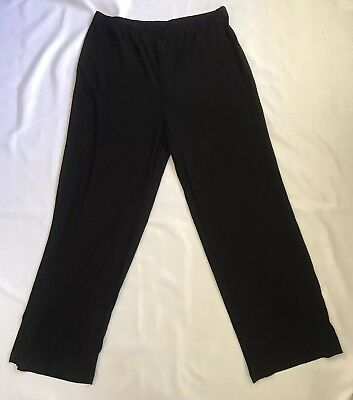 Blair Womens Size Large Navy Blue Woven Capri Pants New