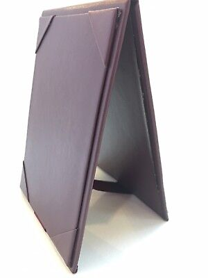 """(5 Pack) Menu Table Tents, 4.5"""" x 6.625"""", Faux Leather, Burgundy"""