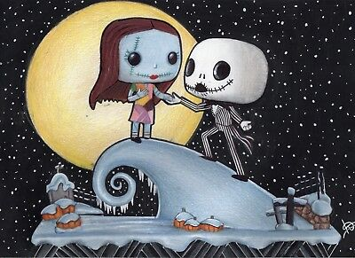 Pop Vinyl Jack Skellington and Sally Drawing A4 Print Nightmare Before Christmas