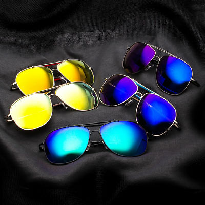 Retro 80s Fashion LARGE PILOT Sunglasses Metal Black Gold Men Vintage Glasses