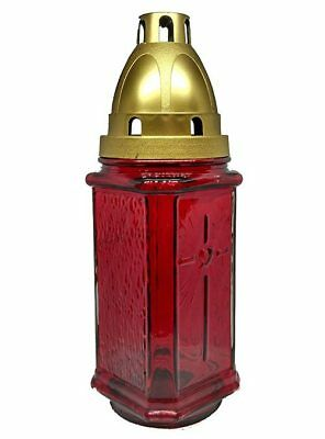 Red Glass Grave Light / Lantern for Graveside includes Candle