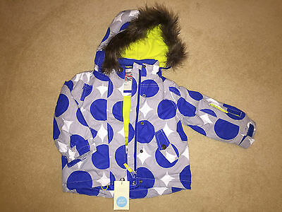 BNWT Mini Boden Girls Grey with Blue Spot Ski Jacket/Coat - Age 2-3 Years