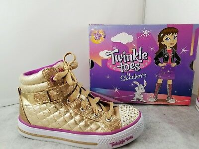 3d8a63c08159 SKECHERS KIDS TWINKLE Toes Light Up High Top Sneaker Sz 3 Gold Lace Up  Strap -  24.50