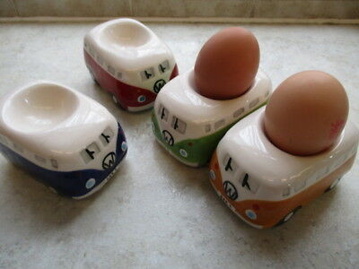 Four VW Volkswagen Campervan Pottery Eggcups Mixed Colours