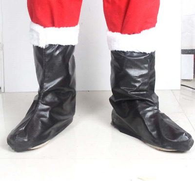 New Santa Claus Boot Tops Covers Faux Fur Trim Christmas Fancy Dress Costume