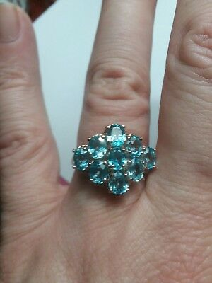 Gourgous Natural Seafoam Blue Zircon Oval 925  Sterling Silver Ring Size 6.75