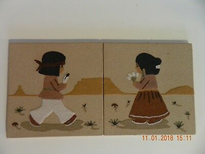 Boy And Girl Navajo Sand Painting Native American Folk  Art Vintage