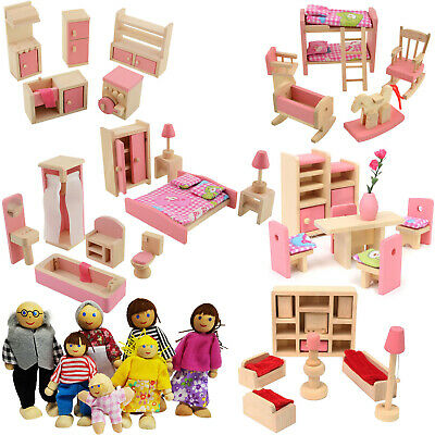 Wooden Doll House Furniture + 7 Dolls Toy Set 6 Room Miniature Pretend Play