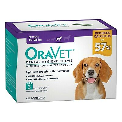 Oravet Plaque & Tartar Control Chews for Medium Dogs 11-23kg - 3-pack