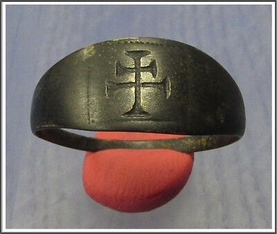 Ancient Bronze Byzantine Ring ** DOUBLE CROSS **