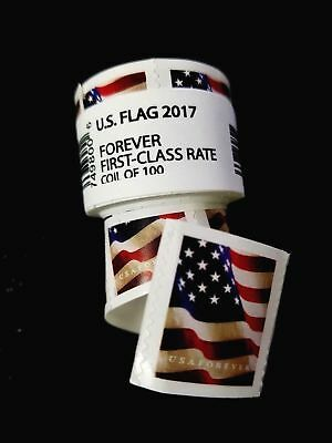 *200 FOREVER STAMPS* 2 rolls of 100 2017 USPS Forever US Flag Stamp Coil