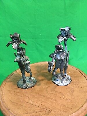 Pair 2 Cast Iron Frogs Playin Horn Blues Band Music  Tapered Candle Stock Holder