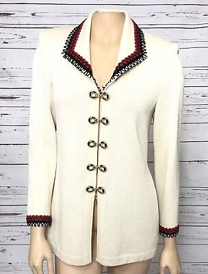 ST. JOHN COLLECTION By Marie Gray Women's Cream Red Jacket Sz 2