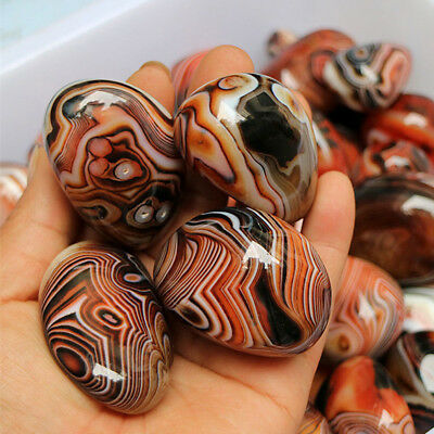 Lots 2-3cm Natural Madagascar Banded Agate Stone Beaded Specimen Tumbled Pattern