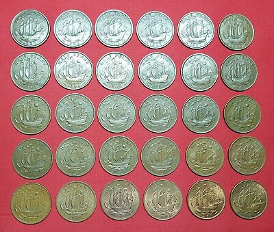 Great Britain Complete Set 30 Coins ,Half Penny 1937-1967 George VI ,Elizabeth