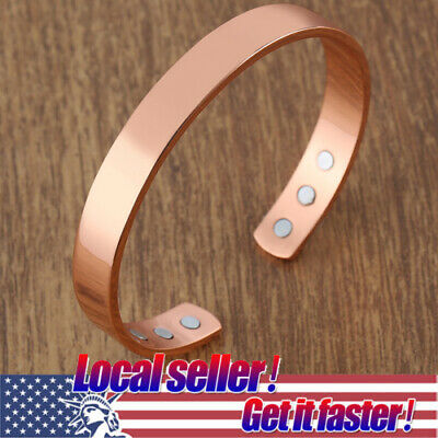 US Pure Copper Magnetic Bracelet Arthritis Therapy and Energy Men Women CUFF NEW
