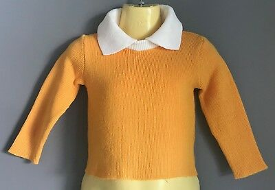 Vintage 1960's/70's Gold & White Collar Ribbed Knit Boys Jumper/Sweater Size 2