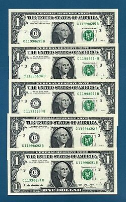 YOU GET 5! $1 2013 PHILADELPHIA UNCIRCULATED #C/B One Dollar Notes + HOLDER
